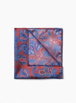 ORANGE PAISLEY POCKET SQUARE FROM BRAND ANTHONY OF LONDON. ERNEST -ORANGE