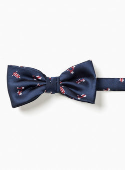 RED VESPA PATTERN BOW TIE FROM BRAND ORVIETO. ERNEST -NAVY