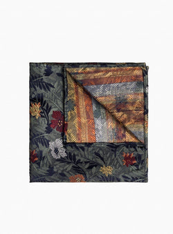 GREEN FLORAL PATTERN POCKET SQUARE FROM BRAND ORVIETO. ERNEST -GREEN