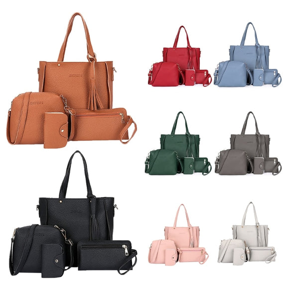 PU Leather Casual Tote, Handbag, Card Coin Bag and Satchel 4pcs/set