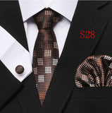 Tie Set Floral  Ties and Handkerchiefs Cufflinks Set