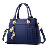 Women Handbags Tassel PU Leather Bag blk/pink/gry/red/khaki/blue