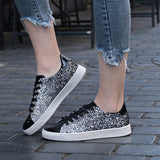 Spring Women Sneakers Casual Flat lace-Up Bling Glitter Shining Green Beautiful Vulcanized Shoes Woman