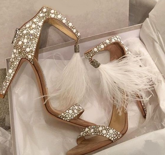Rhinestone Zipper Feather High Heel Pumps