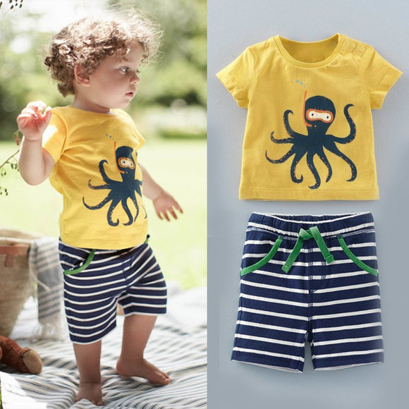 The United States and Europe Boy Octopus Octopus Printed T-shirt + Striped Pants 2 Sets of Children's Suit Boys Clothing Set