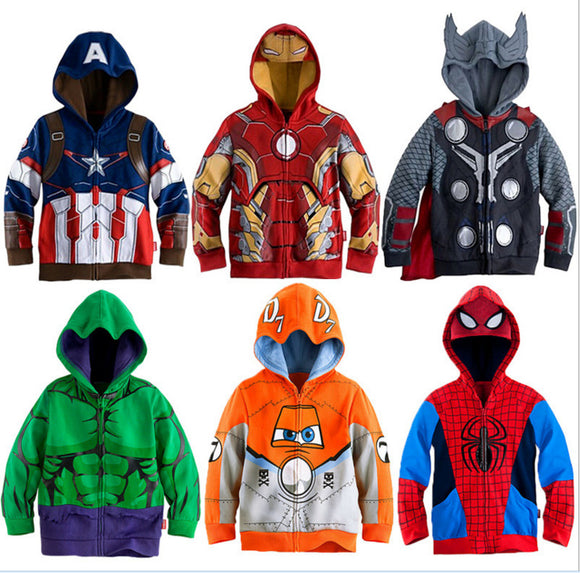 Boys Hoodies Avengers Marvel Superhero Iron Man Thor Hulk Captain America Spiderman Sweatshirt for Boys  2-7T
