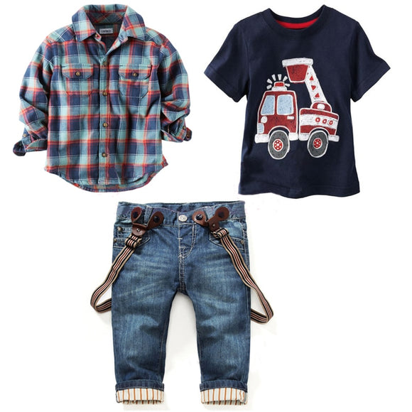 Boy's Long Sleeve Plaid Shirt + Jeans + Vehicle Printing 3 pcs Set