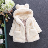 Winter Girls Faux Fur Fleece Hooded Jacket Outerwear - size 2T-10