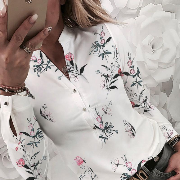 Floral V-neck Long-Sleeved Printed Blouse