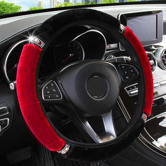 Universal 37-38cm Diameter Soft Plush Rhinestone Car Steering Wheel Cover