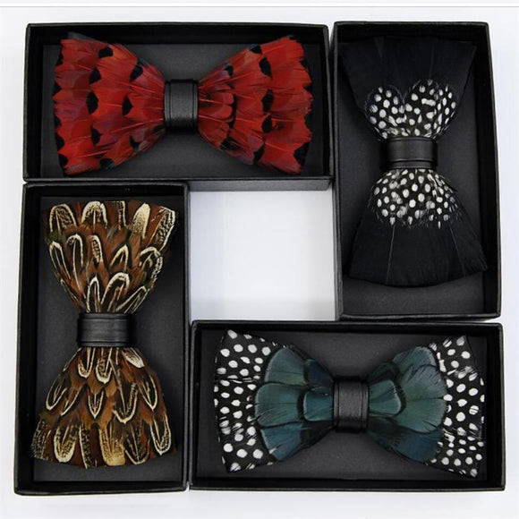 Tie feathers PU bow ties butterfly