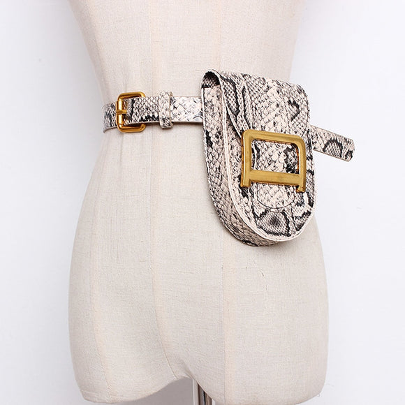PU Leather Vintage Serpentine Waist Bag - various colors and texture