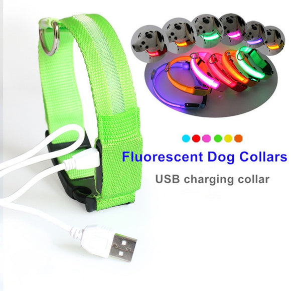Nylon LED Pet Dog Collar,Night Safety Flashing Glow In The Dark Dog Leash,Dogs Luminous Fluorescent Collars Pet Supplies 4.7