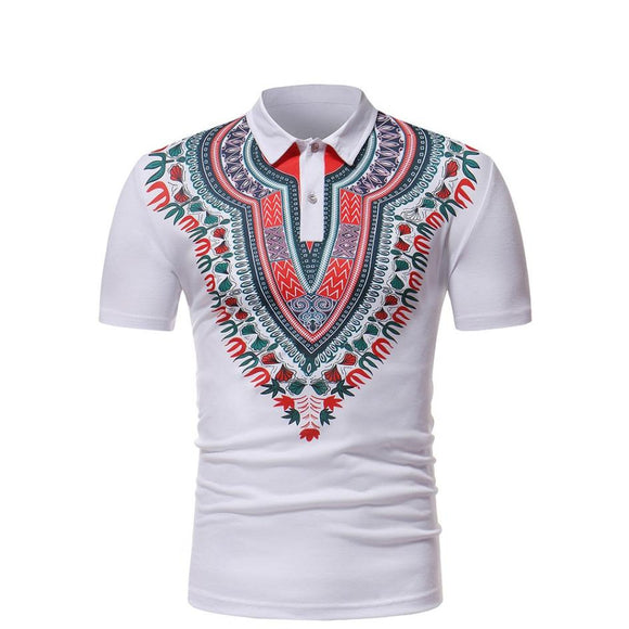 African Style Comf Slim Fit Short Sleeve Printed Tops