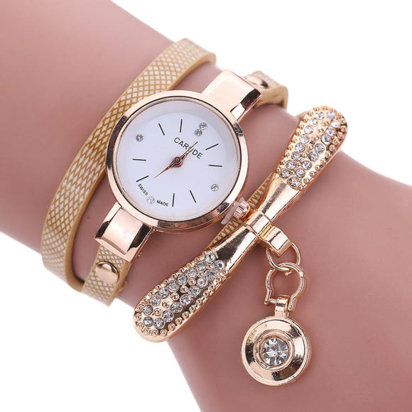 Women Casual Bracelet Watch  w/ Leather Band Rhinestone Analog Quartz
