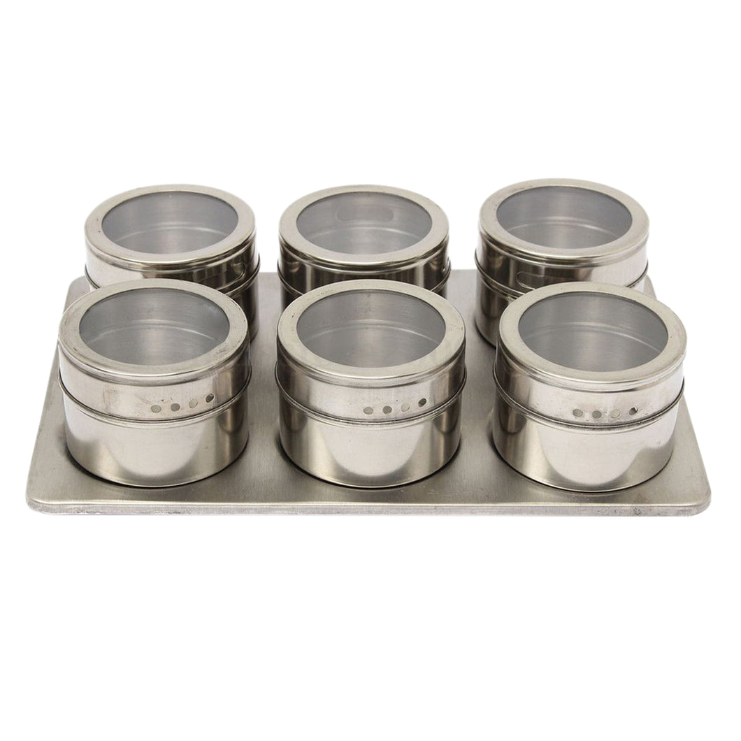 6 Pcs Magnetic Stainless Steel Spice Rack