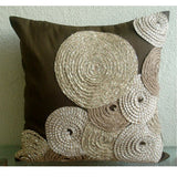 Adorned By Jute - Brown Art Silk Throw Pillow Cover
