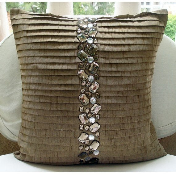 Almost Real - Light Brown Art Silk Throw Pillow Cover