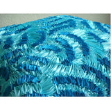 Aqua Ripples - Blue Art Silk Throw Pillow Cover