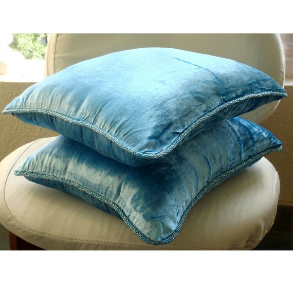 Aqua Shimmer - Aqua Blue Velvet Throw Pillow Cover