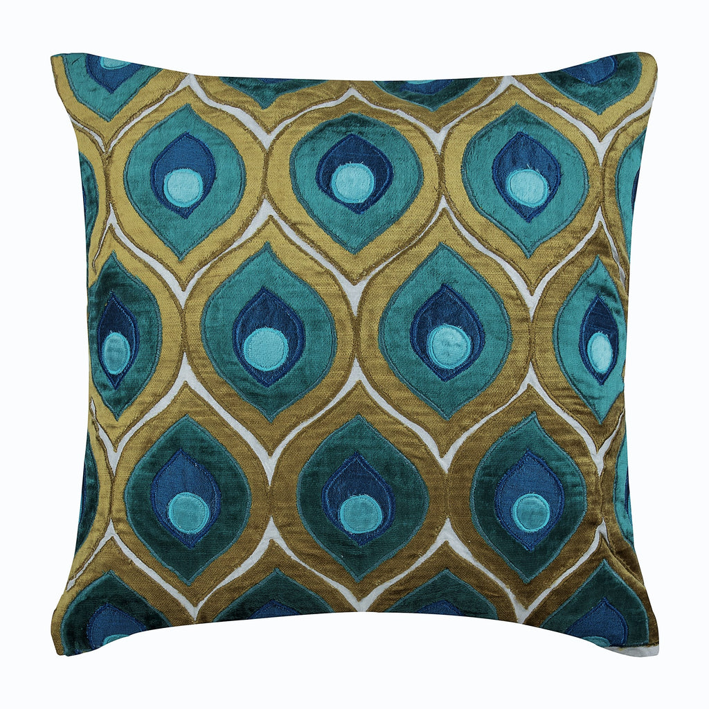 Mid Century Mod Throw Pillow Art Deco  Dark Teal White Swans 18x18 Square Throw Pillow by Spoonflower Art Deco Swans Teal by katerhees