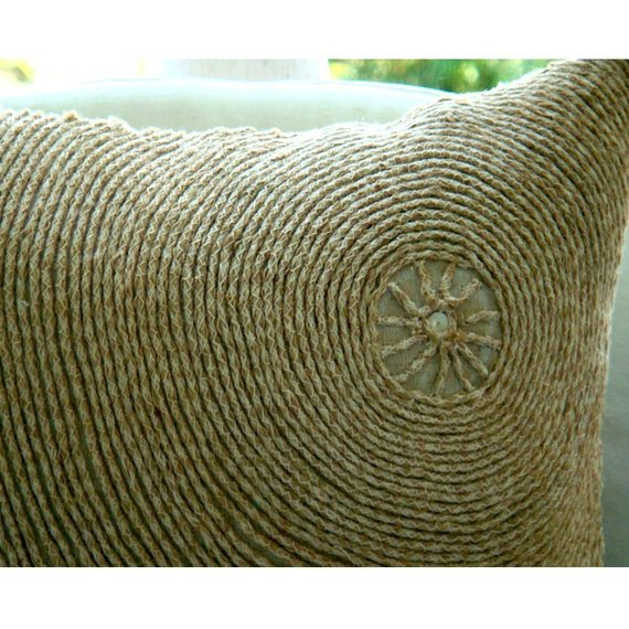 Back To Earth - Ecru Cotton Linen Throw Pillow Cover