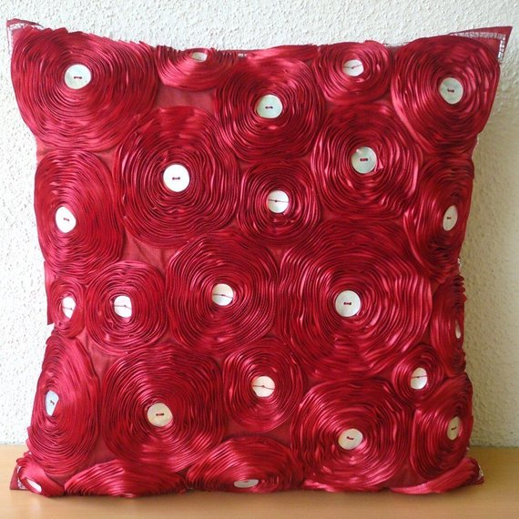 Bed Of Roses - Red Art Silk Throw Pillow Cover