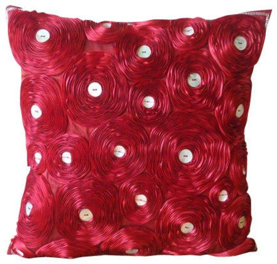 Marigold - Orange Art Silk Dupion Throw Pillow Cover