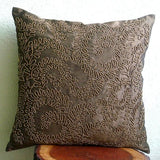 Brown Gold Ivy - Brown Art Silk Throw Pillow Cover