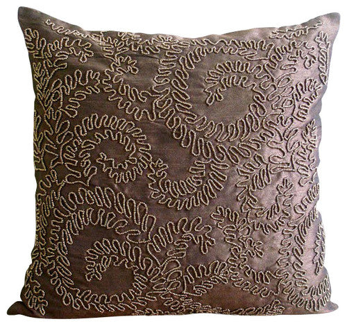 Brown Gold Ivy Pillow Cover