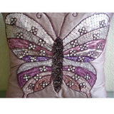 Butterfly Love - Pink Art Silk Throw Pillow Cover