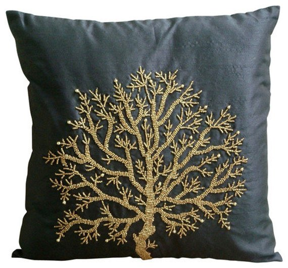 Fuchsia Tree Of Life - Fuchsia Pink Art Silk Throw Pillow Cover