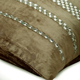 City Of Silver - Beige Velvet Throw Pillow Cover