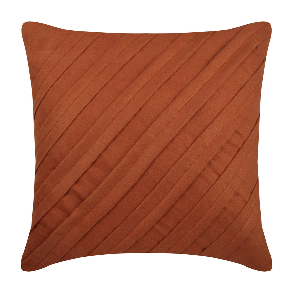 Contemporary Rust - Rust Faux Suede Throw Pillow Cover