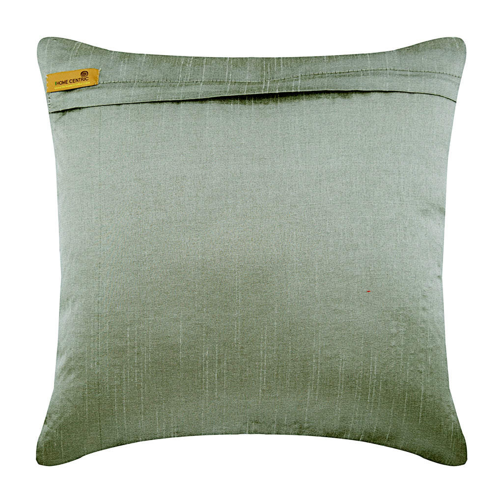 Cool Chrome - Silver Silk Throw Pillow Cover