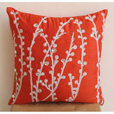 Coral Orange Willow - Coral Orange Art Silk Throw Pillow Cover