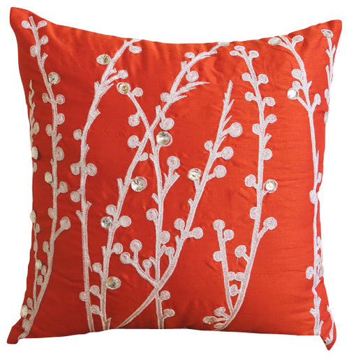 Coral Orange Willow Pillow Cover