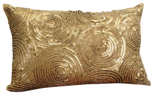 All Eyes On Gold - Art Silk Gold Decorative Standard & King Shams