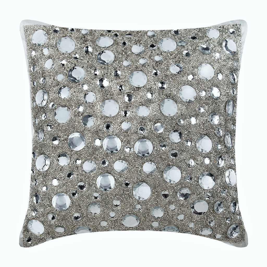 Silver Art Silk Throw Pillow Cover Diamonds Everywhere The Homecentric