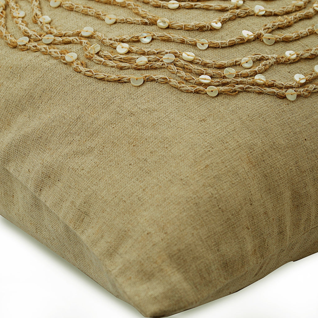 Earthy Rose - Natural Beige Cotton Linen Throw Pillow Cover