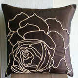 Enchanted Rose - Dark Brown Art Silk Dupion Throw Pillow Cover
