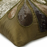 Exotica - Earthy Green Art Silk Throw Pillow Cover