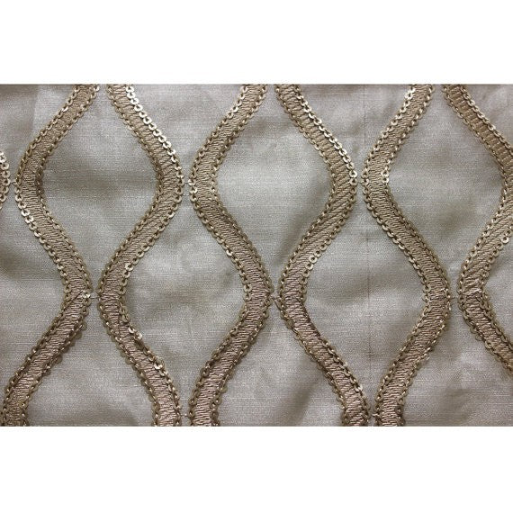 "46"" Wide Sequins Scallop Stitch Embroidery Sheer Fabric by the Yard"