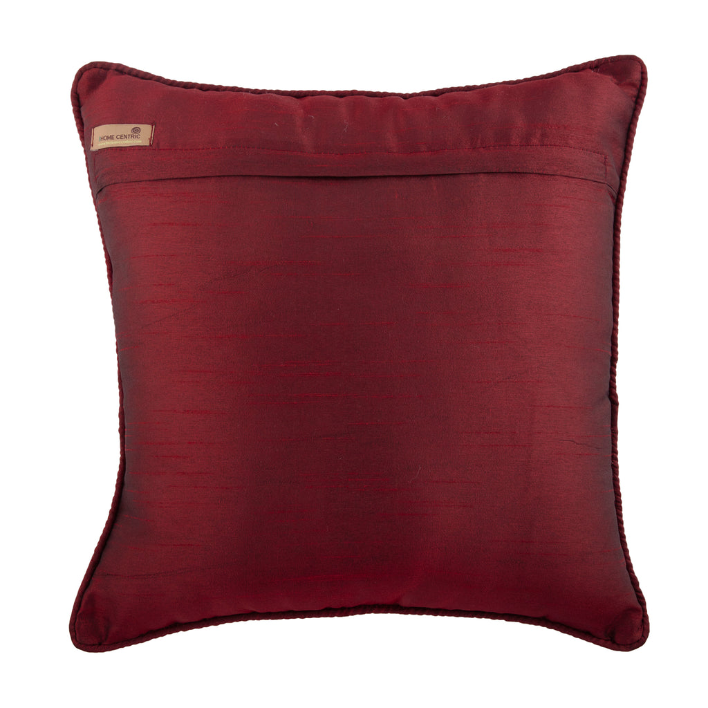 Foiled Red Decor - Red Jacquard Throw Pillow Cover