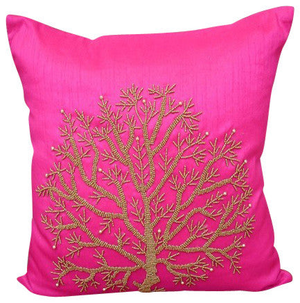 Fuchsia Tree Of Life Pillow Cover