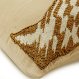Giraffe Talk - Beige Linen Throw Pillow Cover