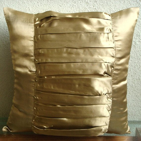 Gold Beauty - Gold Satin Throw Pillow Cover