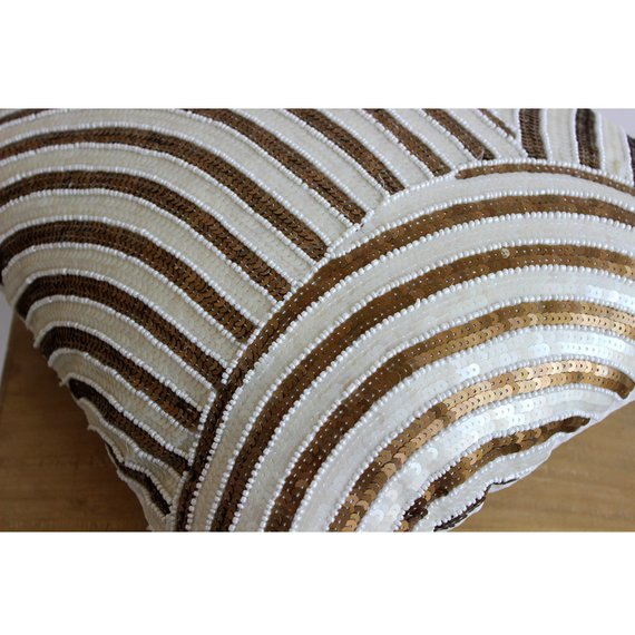 Gold Glamorous - Ivory Art Silk Throw Pillow Cover