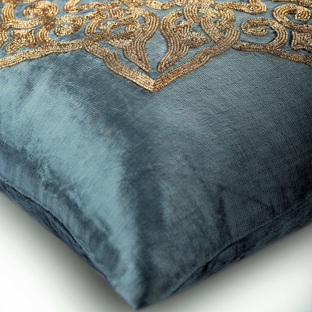 Gold Plated - Silver Velvet Throw Pillow Cover