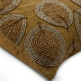 Gold Round Leaves - Gold Art Silk Dupion Throw Pillow Cover